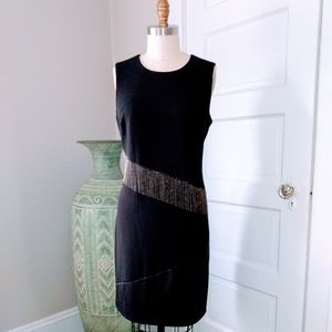 DKNY Black and Chain Fringe Dress